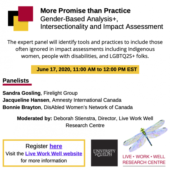 Live Work Well Poster for More Promise than Practice Webinar. The expert panel will identify tools and practices to include those often ignored in impact assessments including Indigenous women, people with disabilities, and LGBTQ2S+ folks. June 17, 2020,