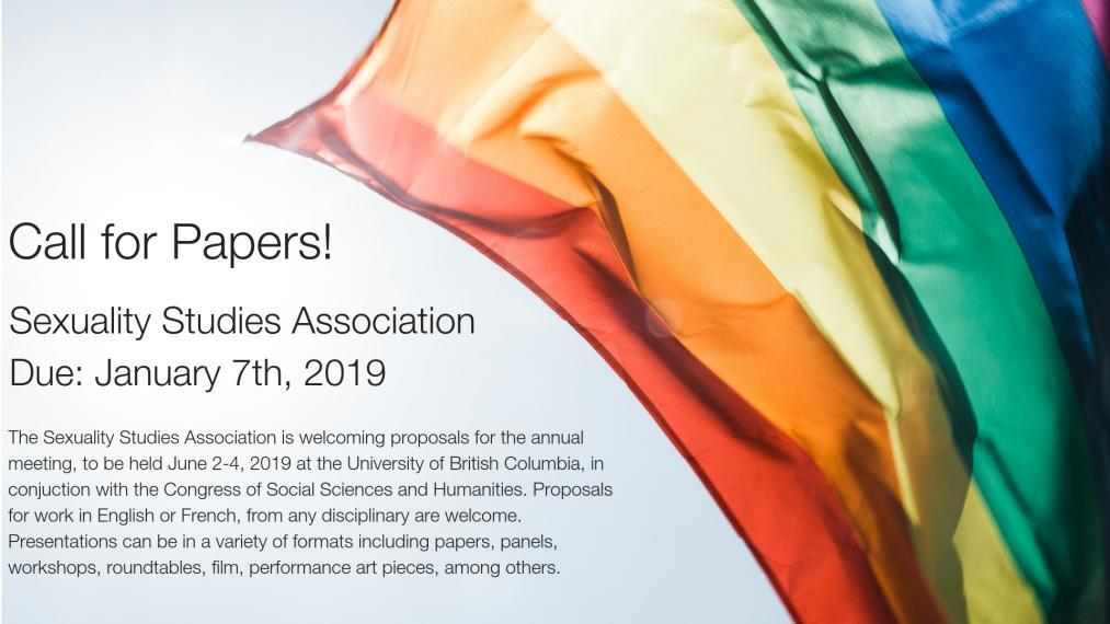 "Rainbow flag with text, ""Call for Papers""."