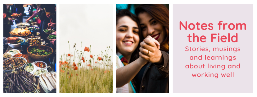 3 images, first image is a table with many plates of colorful food, second picture is a field in the summer, third picture is a queer interracial couple