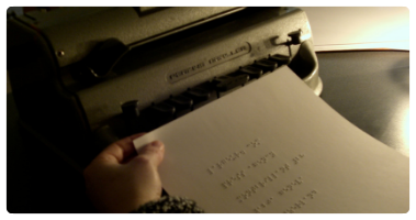 Braille text on a sheet of paper