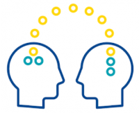 A graphic with two heads beside each other with ideas floating between the two of them.